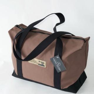 Zip Top Shopper - Brown and Black