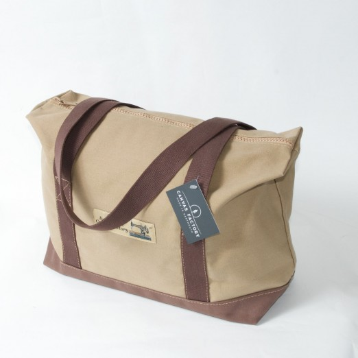 Zip Top Shopper - Khaki and Brown