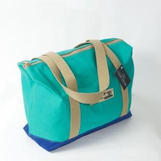 Zip Top Shopper - Green and Royal Blue