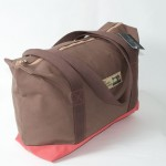Zip Top Shopper - Brown and Red