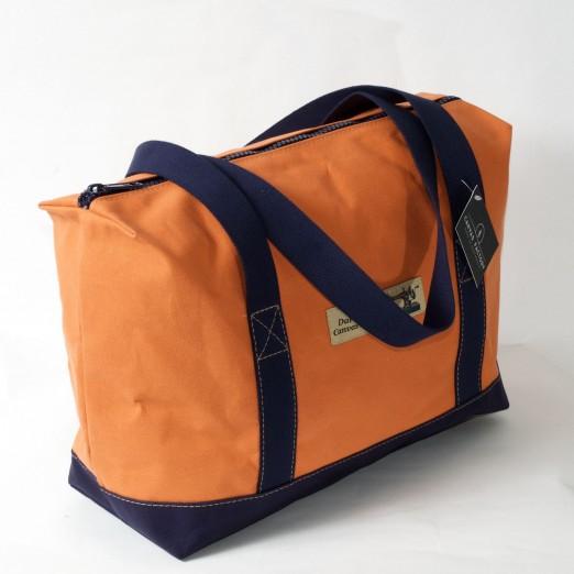 Zip Top Shopper - Orange and Navy Blue