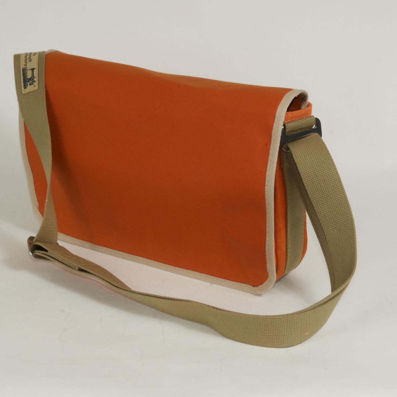 Waxed Cotton Shoulder Bag Waxed Orange And Tan